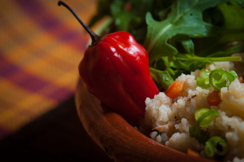 Red Bell Pepper on Brown Rice
